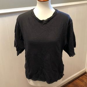 Short sleeve distressed sweatshirt
